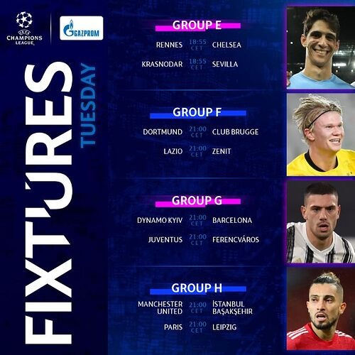 Champions-League-Tuesday Fixtures
