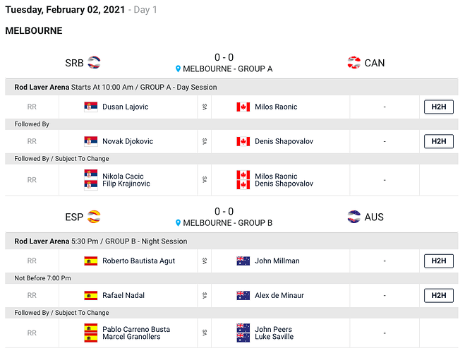 ATP-Cup-Morning Schedule