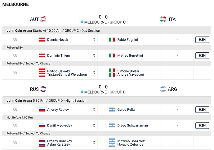 ATP-Cup-Evening Schedule